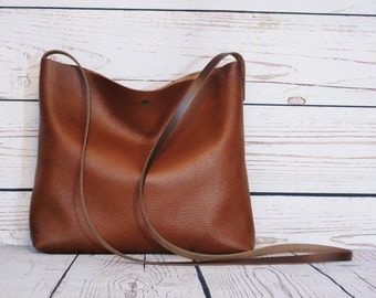 Toffee brown crossbody bag, real leather, slouchy cross body, shoulder bag, leather purse