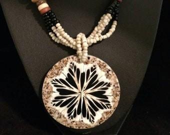 Shiva and Cone Shell Pendant Necklace