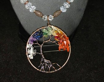 Crystal Tree of Life Beaded Necklace