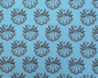 Black-Lined Fan Flowers on Blue Background, Le Marais, French General for Moda Fabrics, 100% Cotton