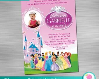 Disney Princess Invitation, Princess Birthday, Princess Party, Princess Invitation, princess Printable Invitation DIY