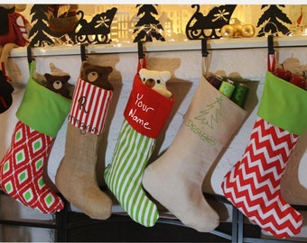 Personalized Christmas Stocking, burlap, cotton, 14 styles to choose from, Embroidered Name or Monogram