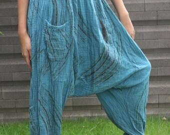 Hippie clothing Boho Pants Harem Pants Blue Sky Women Urban Style Double Cotton