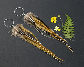 Earth tones earrings made with long natural feathers. Lightweight earrings in earth color. Feather hair. Ethnic tribal jewelry Gift for girl