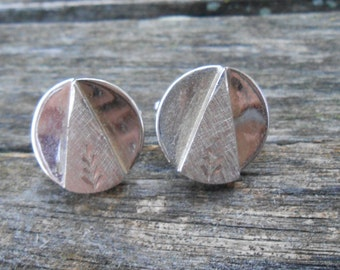 Vintage Abstract Silver  Cufflinks. 1990s. Gift For Dad, Mom, Wife, Husband.