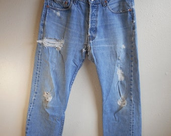 vintage 90s 501 levis silver tab red tag trashed faded denim grunge boho blue jeans button fly w 33