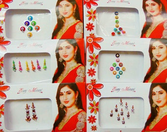 43 bindis - 6 bindi packs designer bollywood bindis / belly dance bindis / bindi stckers, body art tattoos
