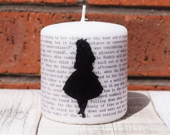 Alice in Wonderland book page pillar candle