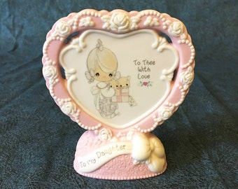 Vintage Precious Moments Girl with Kittens Heart Shaped Plaque 154571