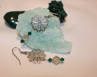crystal filigree earrings with green crystals
