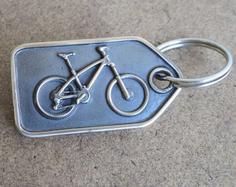 Real bronze mountainbike  keyring (tag shape) gift for cyclist