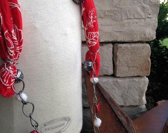 Bright Red Scarf and Coral Fossil Focal Necklace