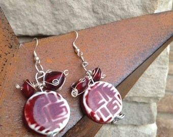 Polished Porcelain and Glass Bead Earrings