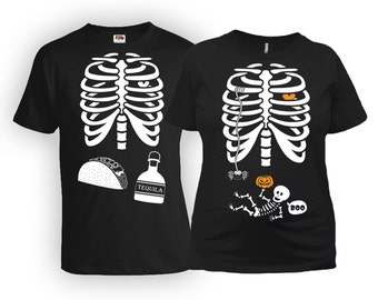 Halloween Pregnancy Shirt Maternity T Shirt Baby Announcement Couple Costumes Skeleton Gifts For Expecting Mothers New Dad Shirt MAT-20-167