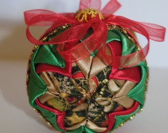 Quilted Fabric Christmas Ball Ornament - Gold Green Red - Vintage Style