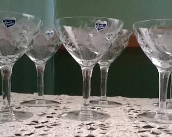 "Javit Hand-Cut Crystal ""Fragrance"" Pattern, Champagne/Sherbert Stemware"