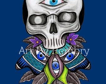 Skull Butterfly Art Print