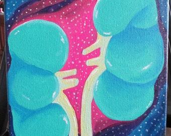 Kidneys 9x12 Acrylic Painting
