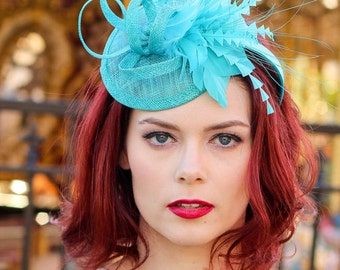 Turquoise Fascinator, Womens Tea Party Hat, Church Hat, Derby Hat, Fancy Hat, Turquoise Hat, Tea Party Hat, wedding hat