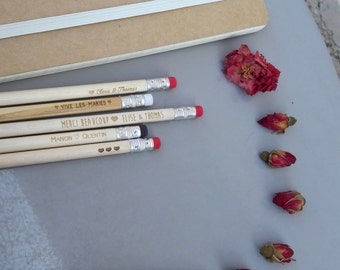 Pencils wood engraved, personalized, burn your pencil batch of 30 pencils engraved for wedding, invitation, invitations