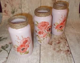 Glass Jars, Set of 3 Decorative Glass Poppy Jars, Pink Poppy Storage Jars, Pen Pots, Shabby Chic Jars, Poppy, Poppies, Remembrance