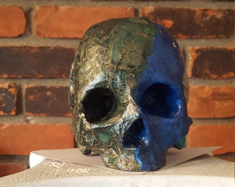 Life Size Skull with Mosaic Paper Decoration