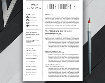 Professional Resume Template, CV Template, Cover Letter, US Letter, A4, Word, Modern Simple Professional Resume, Instant Download, 'DIANA'