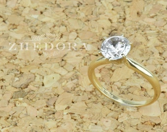 2.0 CT Round Solitaire Engagement Wedding Ring in Solid 14k or 18k Yellow Gold, Solitaire Engagement Ring, Yellow Gold Ring