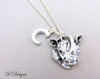 Rhino Necklace, Personalised Rhino Jewellery, Animal Necklace, Personalised Letter Necklace, Sterling Silver, Rhino Gifts