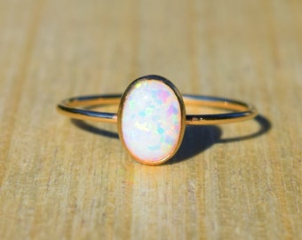 Gold Opal Ring, Opal Ring, Gold Ring, Delicate Gold Ring, Stacking Ring, Stacking Opal Ring, Gold Filled Ring,