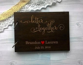 Wedding guest book Wooden Rustic Guestbook Wood Guest Book Custom Guest Book
