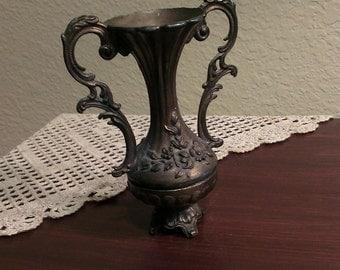 Vintage Metal Ornate Vase - Italy (1950s)