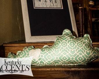 Green Kentucky Shaped Pillow