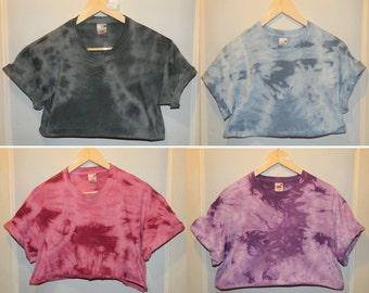 Tie Dye acid wash crop top Cutoff Tshirt hipster festival grunge Retro 80s 90s indie dip dye indie rave skate top