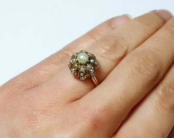 Vintage 18K Gold Seed Pearl Cluster Ring *ON SALE for a limited time*