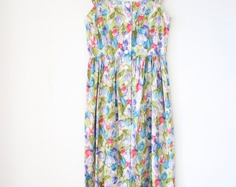 80s cotton sun dress, Vintage floral summer dress, Small