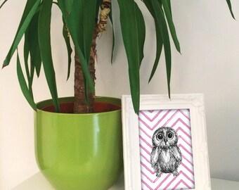 Baby Owl illustration print, baby owl wall art, baby owl woodland nursery, blue green orange pink baby owl, owl lover gift UK