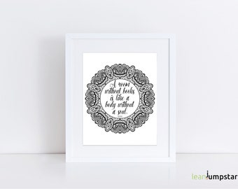 Book Quote Wall Art, Book Quote Poster, Book Quotes, Book Quote Print, Book Quote Art, Circle Print, Book Lover Gift, Quotes about Book, Art