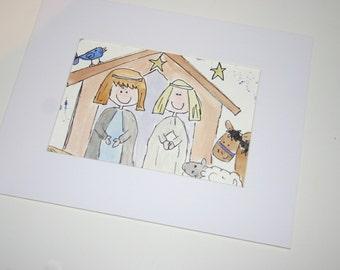SALE christmas scene, original painting, nativity, Christmas art, watercolour art