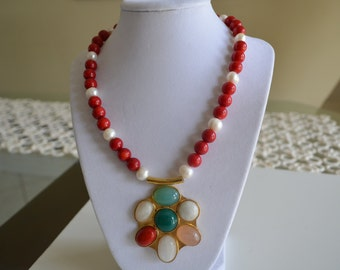 Multi-Color Natural Agate Gemstone Big Pendant Red Coral and Pearl Necklace, 24K Gold Plated Metal