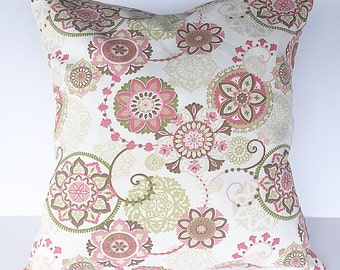 Throw pillow accent pillow cover couch pillow cover  cream pink green tan brown pillow cover home decor pillow cover