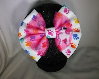 Dog paw print/pink poodle hair bow