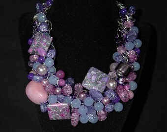 Lavender Bead Bib Necklace