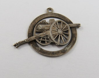 War Cannon on Wheels Sterling Silver Charm or Pendant.