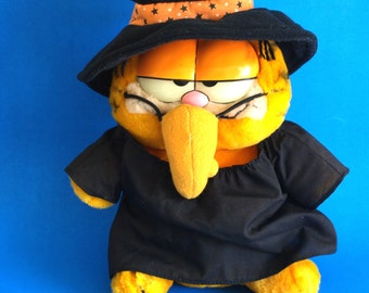Vintage Witch Garfield Halloween Costume Witchy Witchy Poo - Dakin Soft Toy Garfield United Feature Syndicate - Made in Korea Collectable
