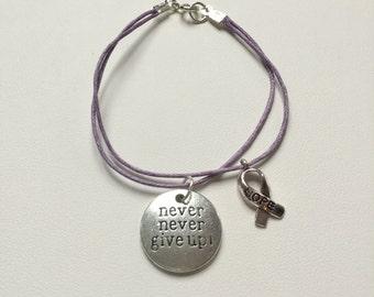 Purple Eating Disorder Awareness Bracelet Layered Charm Bracelet Never Give Up Awareness Ribbon Charm Bracelet