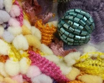Bohemeian Tissage Hanging Decor | Wool and Beads | Rainbow Pom Pom | Wall Hanging