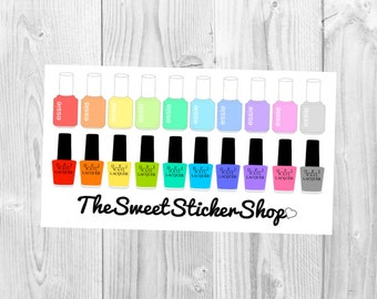 Nail Polishes inspired by Essie and OPI (Vibrant Rainbow Stickers): for use with Erin Condren Vertical Planner (Basics)