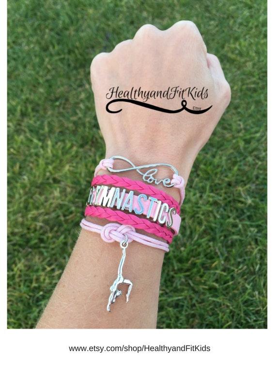 Gymnastics bracelet charm infinity, gymnast charm, light & hot pink, silver charms, wrap bracelet, tumbling, leotard, vault, bars, floor bag