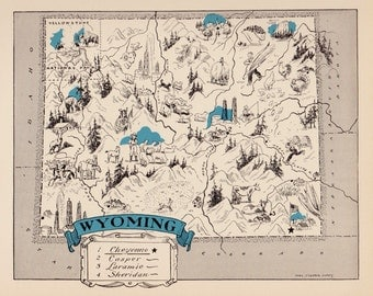 30's Whimsical WYOMING Map of Wyoming State Map Print Travel Map Gallery Wall Art Library Office Decor  Birthday Gift